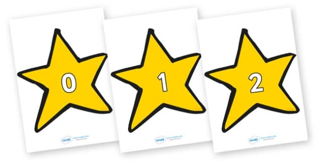 Numbers 0-100 on Stars (Plain) - 0-100, foundation stage numeracy, Number recognition, Number flashcards, counting, number frieze, Display numbers, number posters