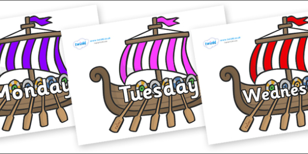 Days of the Week on Viking Longboats - Days of the Week, Weeks poster, week, display, poster, frieze, Days, Day, Monday, Tuesday, Wednesday, Thursday, Friday, Saturday, Sunday