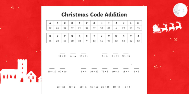 Cryptic Christmas Code addition Activity Sheet-Australia