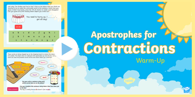 Year 2 Apostrophes For Contraction Warm Up PowerPoint