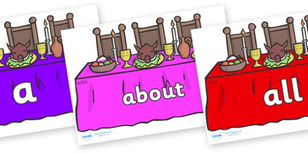 100 High Frequency Words on Dining Tables (Multicolour) - High frequency words, hfw, DfES Letters and Sounds, Letters and Sounds, display words