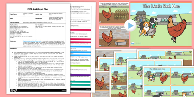 Little Red Hen Sensory Story EYFS Adult Input Plan and Resource Pack