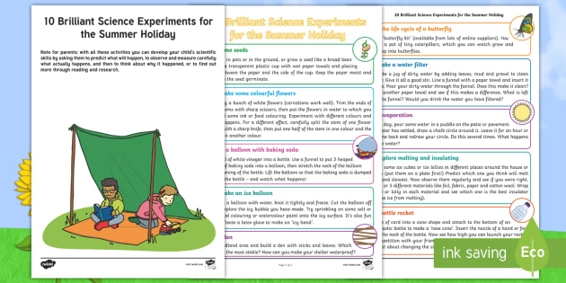 Ten Science Experiments For The Summer Holidays Worksheet