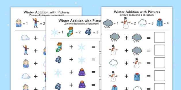 Winter Themed Addition with Pictures Activity Sheets Polish Translation - polish, winter, addition, pictures, activity, sheets, worksheet