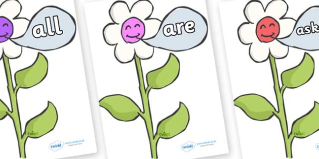 Tricky Words on Flowers - Tricky words, DfES Letters and Sounds, Letters and sounds, display, words