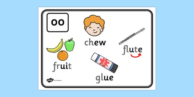 Alternative Spellings for Long oo Display Poster - alternative spellings for oo, display poster, oo display poster, alternative spelling for oo poster
