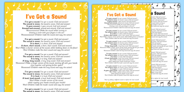 I've Got a Sound Rhyme Sheet - EYFS, Key Stage 1, phonics, Letters and Sounds, voice sounds, Phase 1, Aspect 6