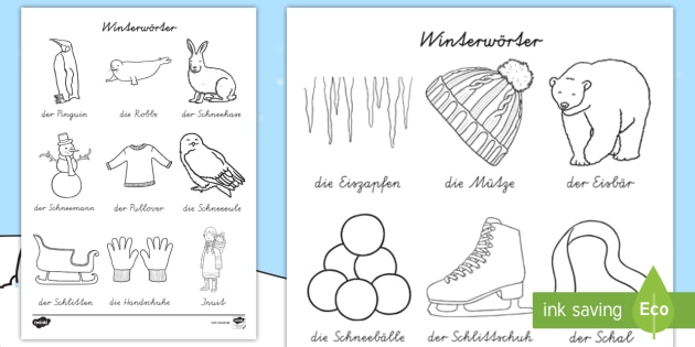 Winterworter Ausmalbilder Teacher Made