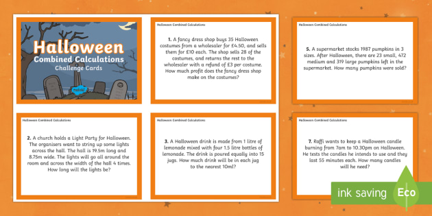UKS2 Combined Calculations Halloween Maths Challenge Cards