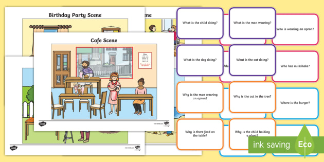 FREE! - Picture Scenes and 'Wh-' Questions - English