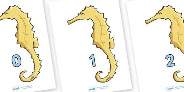 Numbers 0-31 on Seahorses - 0-31, foundation stage numeracy, Number recognition, Number flashcards, counting, number frieze, Display numbers, number posters