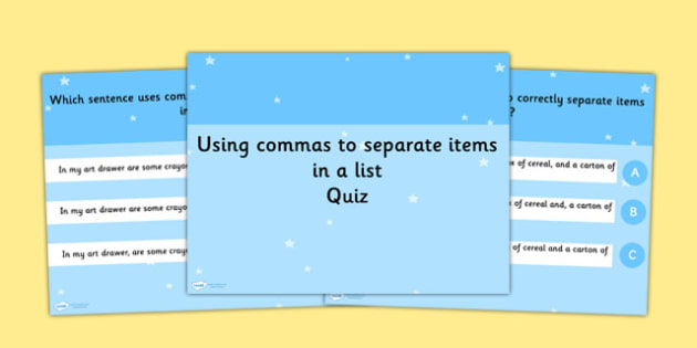 Using Commas to Separate Items List SPaG Punctuation PowerPoint