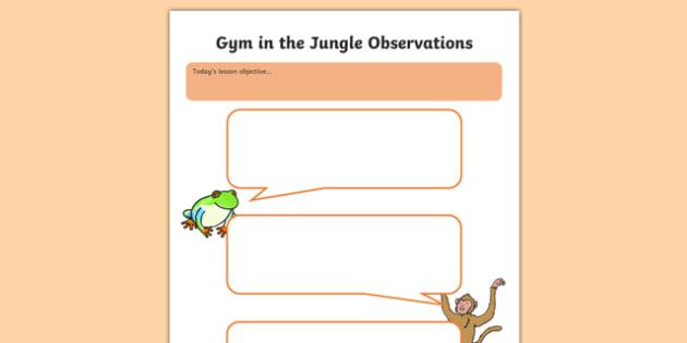 Jungle Themed Observation Speech Bubbles - EYFS, PE, Physical Development, observation, assessment