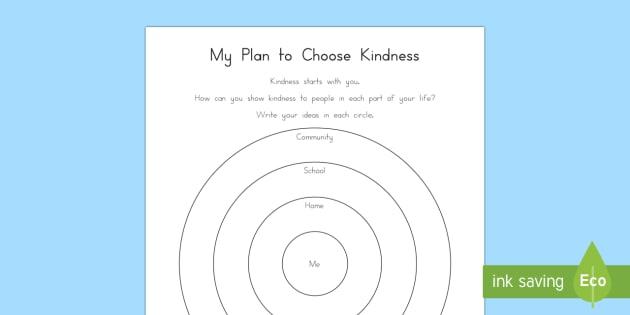 My Plan to Choose Kindness Worksheet / Activity Sheet - Choose kindness, kindness, friendship, relationships, pledge, worksheet