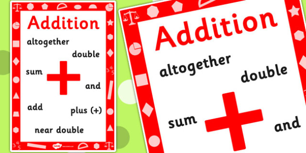 Key Stage 1 Addition Poster - Add, Maths, Numbers, Poster, Display