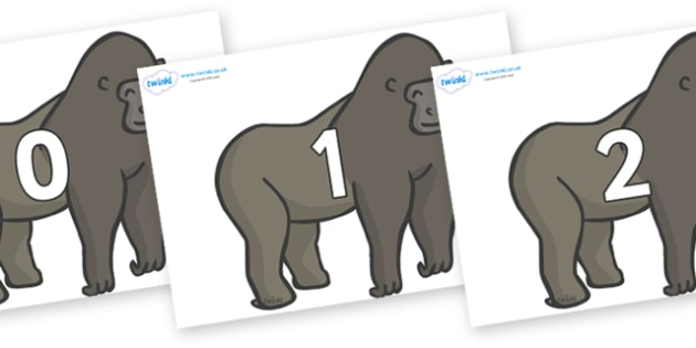 Numbers 0-31 on Gorillas - 0-31, foundation stage numeracy, Number recognition, Number flashcards, counting, number frieze, Display numbers, number posters