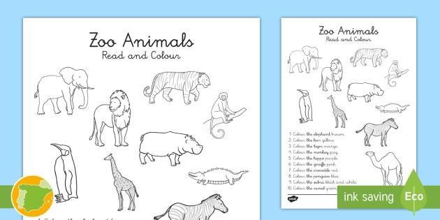 Ficha de actividad: Lee y colorea los animales del zoo en