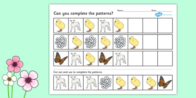 spring complete the pattern worksheet spring patter sheet. Black Bedroom Furniture Sets. Home Design Ideas