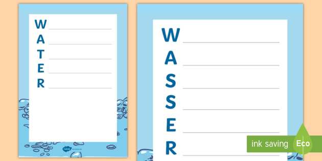 Water Acrostic Poem Englishgerman Water Save