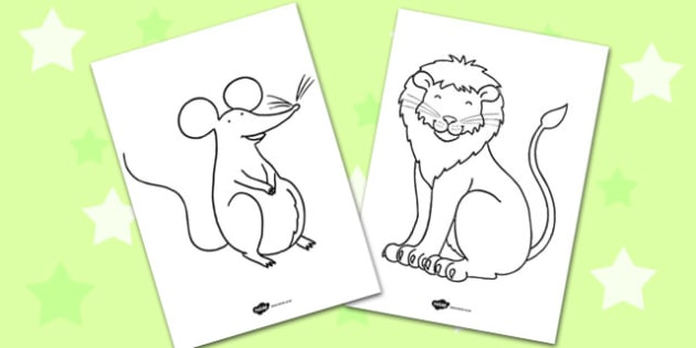 The Lion And The Mouse Colouring Sheets colouring colour