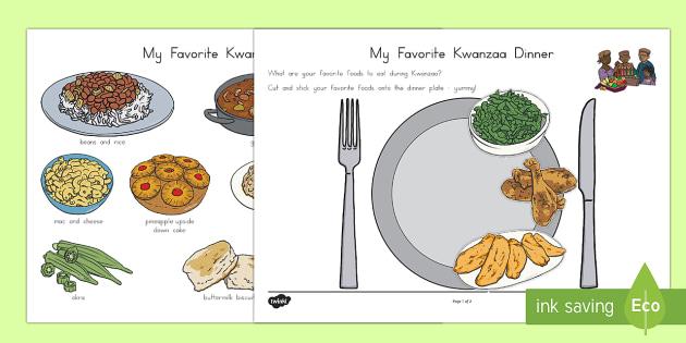 My Favorite Kwanzaa Dinner Cut And Stick Worksheet Activity