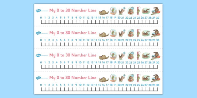 The Story of Miss Moppet Number Lines 0-30 - miss moppet, number lines, 0, 30, number, line, maths, beatrix potter