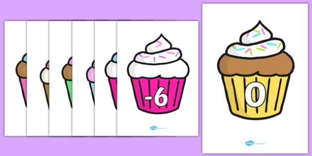 Negative Numbers on Cupcakes - negative numbers, cupcakes, minus numbers