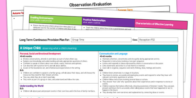 Group Time Editable Continuous Provision Plan Reception FS2 - provision