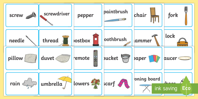 Everyday Objects Word Association Game - word association, things that go together, pairs