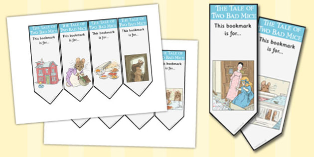 The Tale of Two Bad Mice Editable Bookmarks - two bad mice, bookmarks