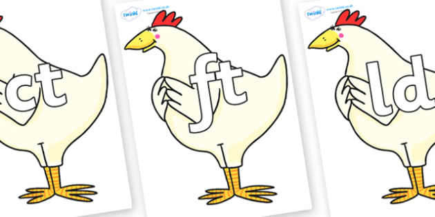 Final Letter Blends on Hullabaloo Chicken to Support Teaching on Farmyard Hullabaloo - Final Letters, final letter, letter blend, letter blends, consonant, consonants, digraph, trigraph, literacy, alphabet, letters, foundation stage literacy
