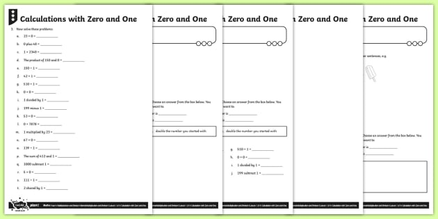 Multiplying by 0 and 1 and Dividing by 1 Activity Sheets