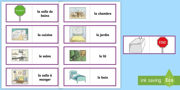 Parts Of A House Card Game French French Games French Parts