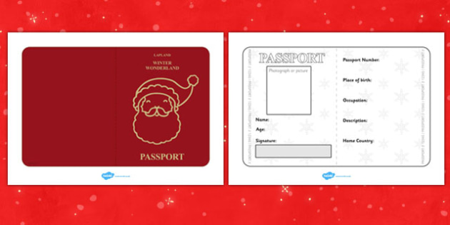 Father Christmas Passport Writing Frame - christmas, passport