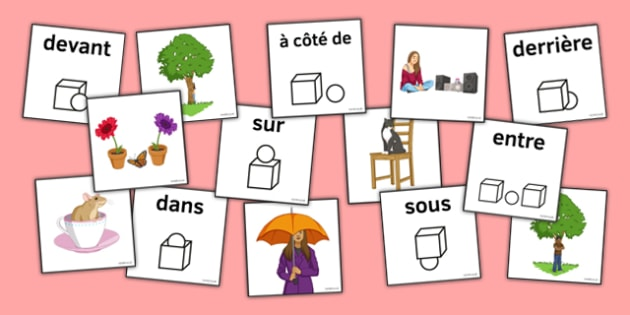 Prepositions Matching Picture Cards French