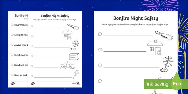 Bonfire Night Safety Poster Writing Activity Sheet