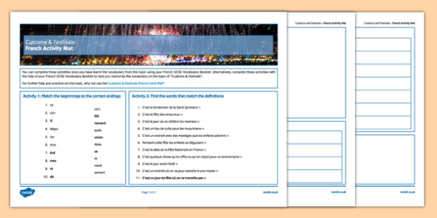 Customs and Festivals French  Activity Sheet-French, worksheet