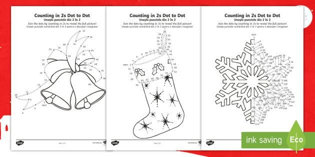 christmas counting in 2s dot to dot colouring pages englishromanian christmas australia