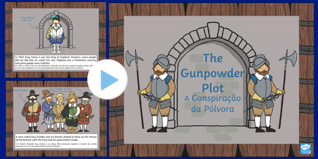 The Gunpowder Plot Information PowerPoint KS1 English/Portuguese