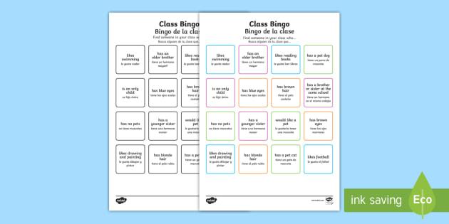 Class Welcome Transition Bingo English/Spanish - Class