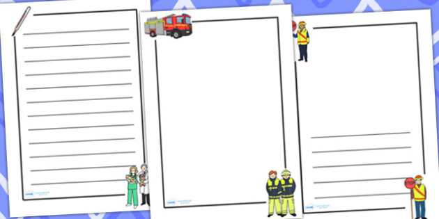 People Who Help Us Page Borders Portrait - writing template