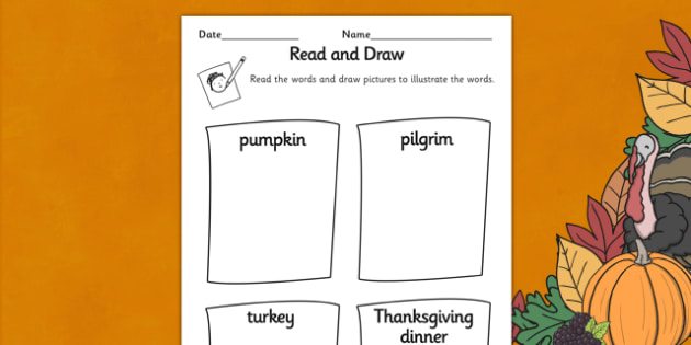 Thanksgiving Read and Draw Worksheet - Thanksgiving, Draw, Read
