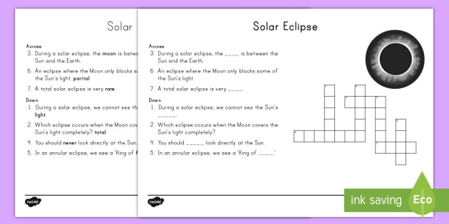 Solar Eclipse Crossword -  earth, moon, sun, space, science, light, dark, annual, total, partial