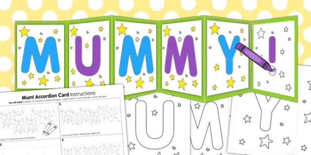 Mummy Accordion Card Template - mummy, accordion, card, template