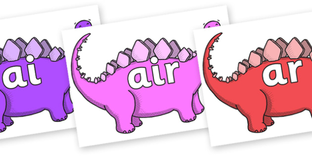 Phase 3 Phonemes on Stegosaurus - Phonemes, phoneme, Phase 3, Phase three, Foundation, Literacy, Letters and Sounds, DfES, display