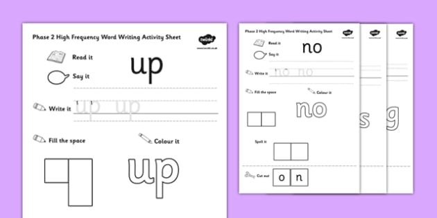 Phase 2 High Frequency Word Writing Activity Sheet - phase 2, high frequency, writing, word, activity, sheet, worksheet