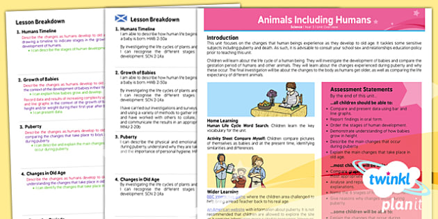 Science: Animals Including Humans Year 5 Planning Overview CfE