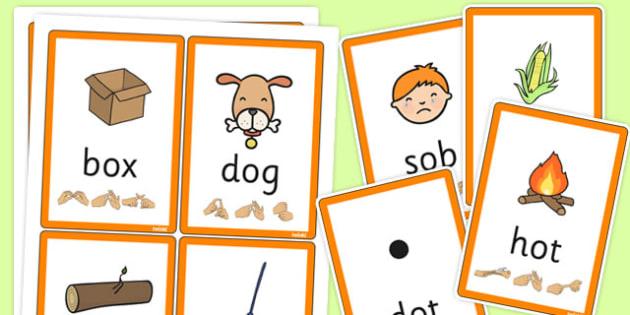 CVC Flash Cards with British Sign Language 'o' - flashcards, sign