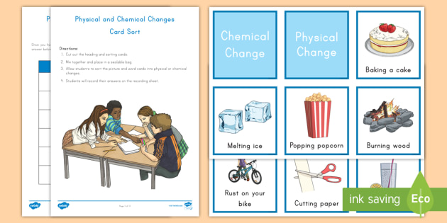 physical and chemical change steam sorting cards matter