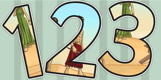 Ancient Sumer Themed Display Numbers - sumer, history, display